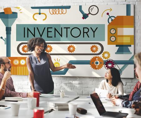 inventario: Inventario de activos de fabricaci�n Productos Concept Foto de archivo
