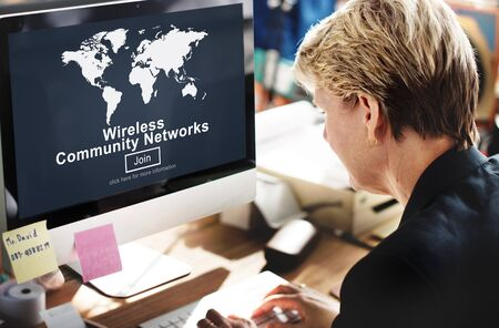 globalization: Wireless Community Networks Connection Globalization Technology Concept Stock Photo