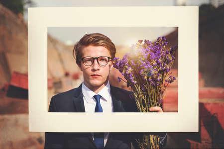 job posting: Businessman Frame Posing Flower Concept