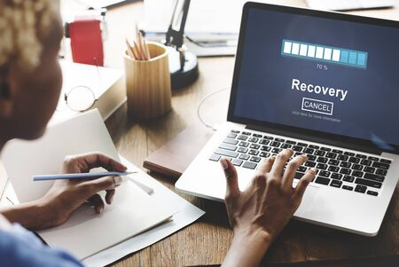 recovery: Recovery Backup Restoration Data Storage Security Concept Stock Photo