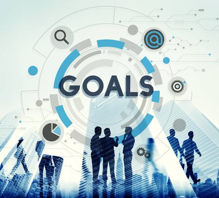 man business oriented: Goals Mission Target Hud Aspiration Concept Stock Photo