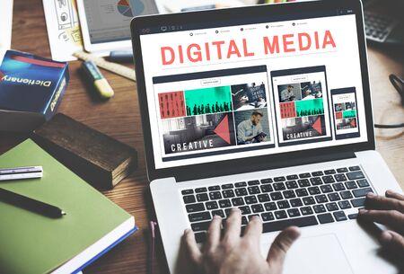 multimedia: Digital Media Network Multimedia Technology Concept Stock Photo