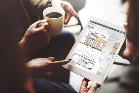 House plan on digital tablet concept Stock Photo