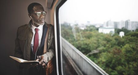alone person: Businessman Travel Passenger African Descent Concept
