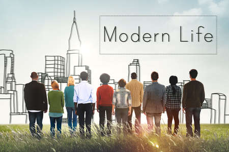modern life: Modern Life Minimalism Lifestyle Trendy Concept Stock Photo