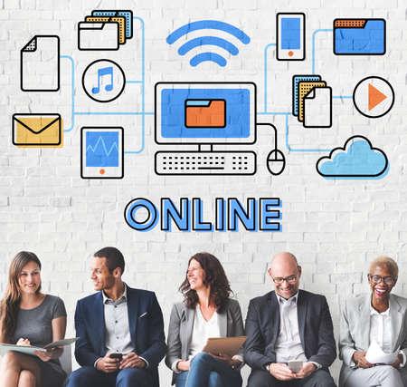 online: Online Online Storage Network Sharing Concept Stock Photo