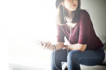woman listening to music: Woman Listening Music Media Entertainment Relaxation Concept