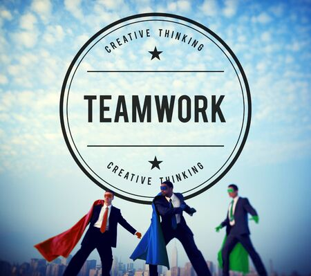 powerful creativity: Team Building Collaboration Connection Corporate Teamwork Concept