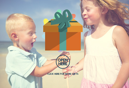 open box: Present Gift Giftbox Holiday Icon Concept Stock Photo
