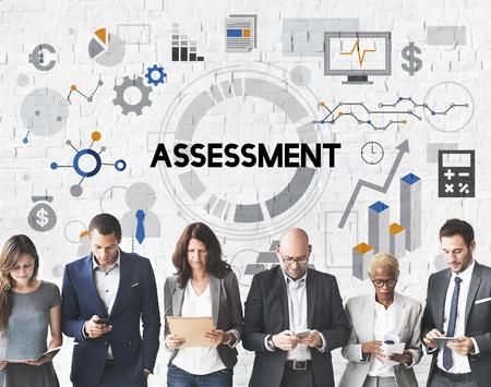 evaluacion: Concepto Informe de Evaluación Evaluación de administración de análisis Foto de archivo
