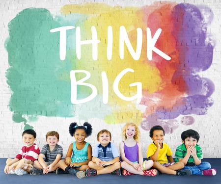 garcon africain: Think Big Attitude Inspiration Creative Optimisme Concept