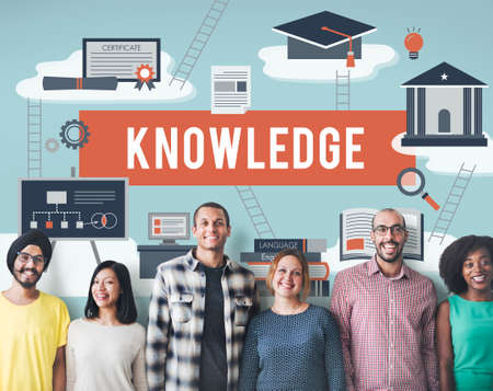 perceptive: Knowledge College Insight Learning Studying Concept Stock Photo