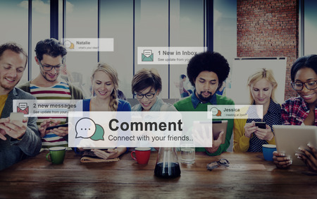 response: Comment Communication Social Media Response Statement Concept Stock Photo