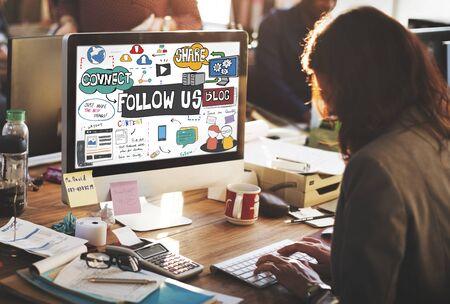 follow: Follow us Social Media Connection Followers Concept