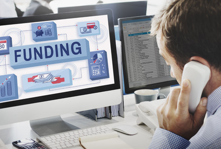 phone support: Funding Finance Management Graphics Concept Stock Photo