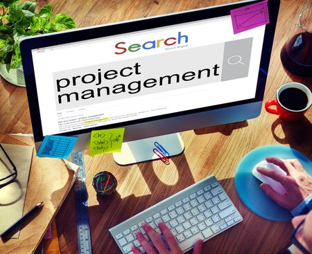 project manager: Project Management Organization Planning Process Concept Stock Photo