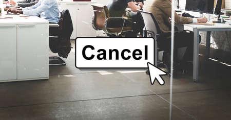 interrupt: Click Cancel Button Interface Concept Stock Photo