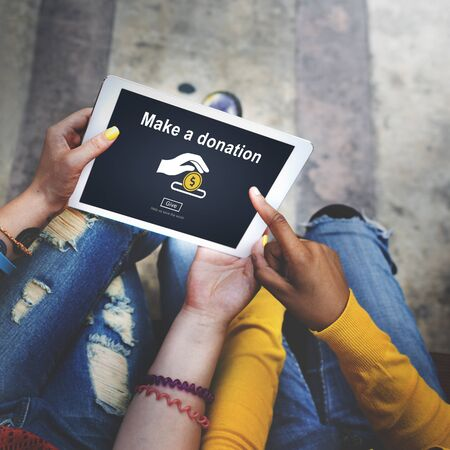 contribute: Make a Donation Charity Donate Contribute Give Concept