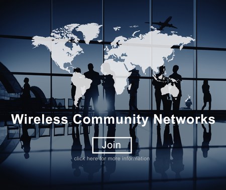 flight mode: Wireless Community Networks Technology Hotspot Concept