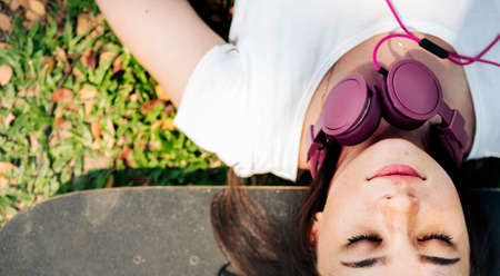 Skateboard Relaxation Rest Lying Chill Headphone Concept Stock Photo