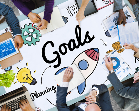 Goals with brainstorming concept Stockfoto