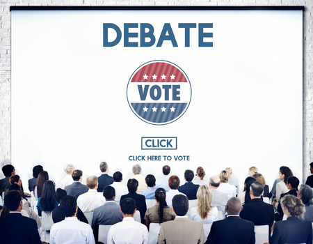 ability to speak: Debate Conversation Depute Talking Concept Stock Photo