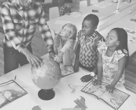 african descent: Students Geography Learning Classroom Concept