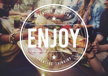 Enjoy Enjoyment Appreciate Happiness Pleasure Concept Banco de Imagens