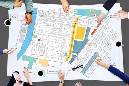 planning: City Urban Blueprint Plan Infrastacture Concept Stock Photo