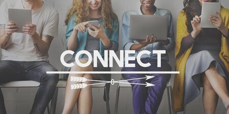 networking people: Connect Online Internet Social Media Concept