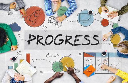 reuniones empresariales: Crecimiento Desarrollo Progreso Innovación Concepto Adelanto Foto de archivo