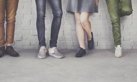 trouser legs: Teens Friends Hipster Fashion Trends Concept