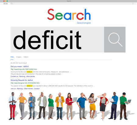 deficit: Deficit Crisis Problem Bankruptcy Debt Deficiency Concept