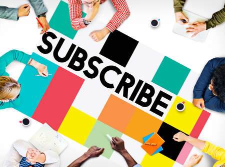 membership: Subscribe Follow Subscription Membership Social Media Concept Stock Photo