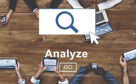 to analyze: Analyze Information Insight Connect Data Website Concept