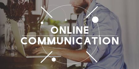analysing: Online Communication Digital Analysing Concept Stock Photo