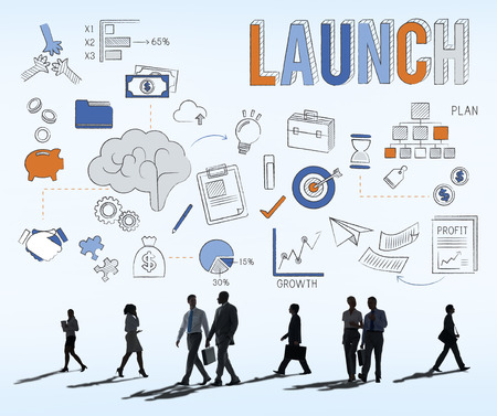 initiate: Launch Begin Introduce Kick Off New Business Concept Stock Photo