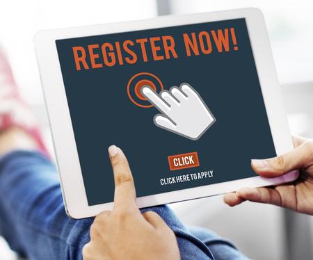 Regístrese Registro Introduzca Aplicar membresía Concept