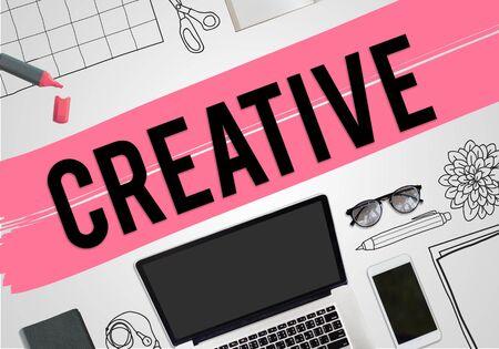 laptop outside: Creative Thinking ideas Imagination Innovation Inspiration Concept