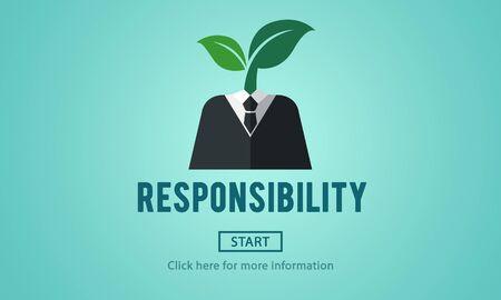 responsabilidad: Los roles de responsabilidad Deber de tareas Obligación Concepto Responsable Foto de archivo
