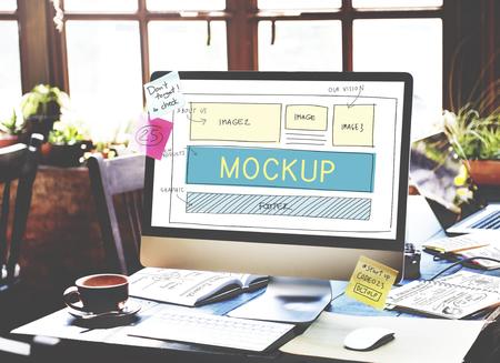 reproduce: Mockup Object Imitate Model Replica Design Reproduce Concept Stock Photo