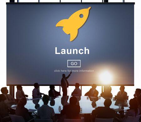 back lit: Launch Start Brand Introduce Rocket Ship Concept Stock Photo