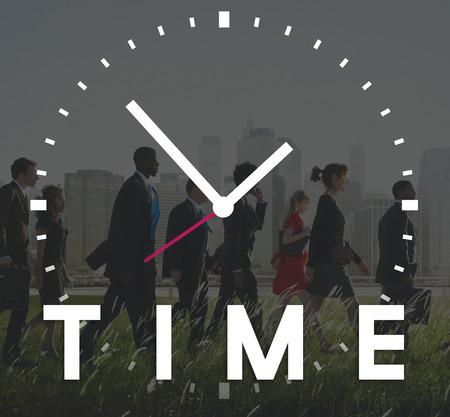 gestion del tiempo: Gesti�n de tiempo puntual Duraci�n Horario Concept Foto de archivo
