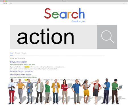Online search of action with business people concept