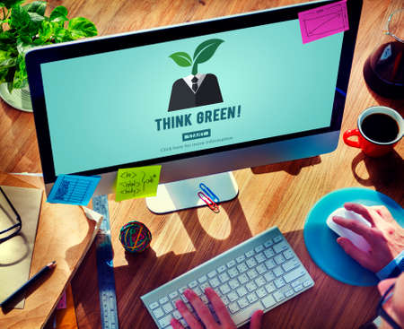 Think Green Ecology Environmental Conservation Concept Stock Photo