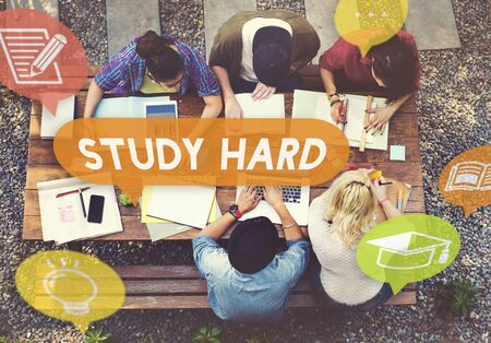 school work: Study Hard Stressed Difficult Knowledge Concept Stock Photo