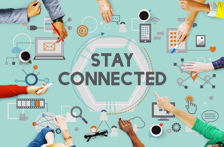 to stay: Stay Connected Social Media Technology Innovation Concept