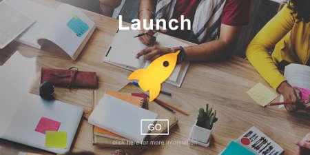 begin: Launch Start Begin Rocket Ship Icon Concept