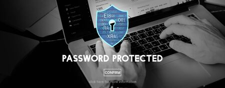 passwords: Password Protected Network Security Protection Concept