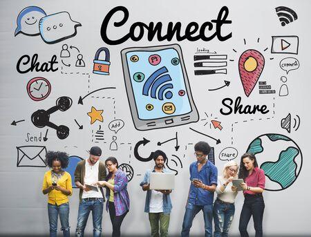 Conectar Concepto Social Media Redes sociales